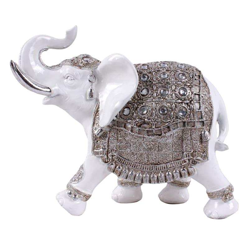 9X10 White/Silver Resin Elephant