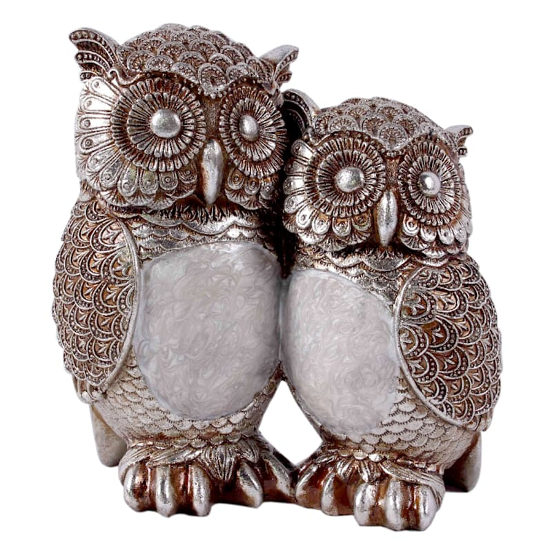 Baby and Mother Silver Capiz Owl - 7.5 in.