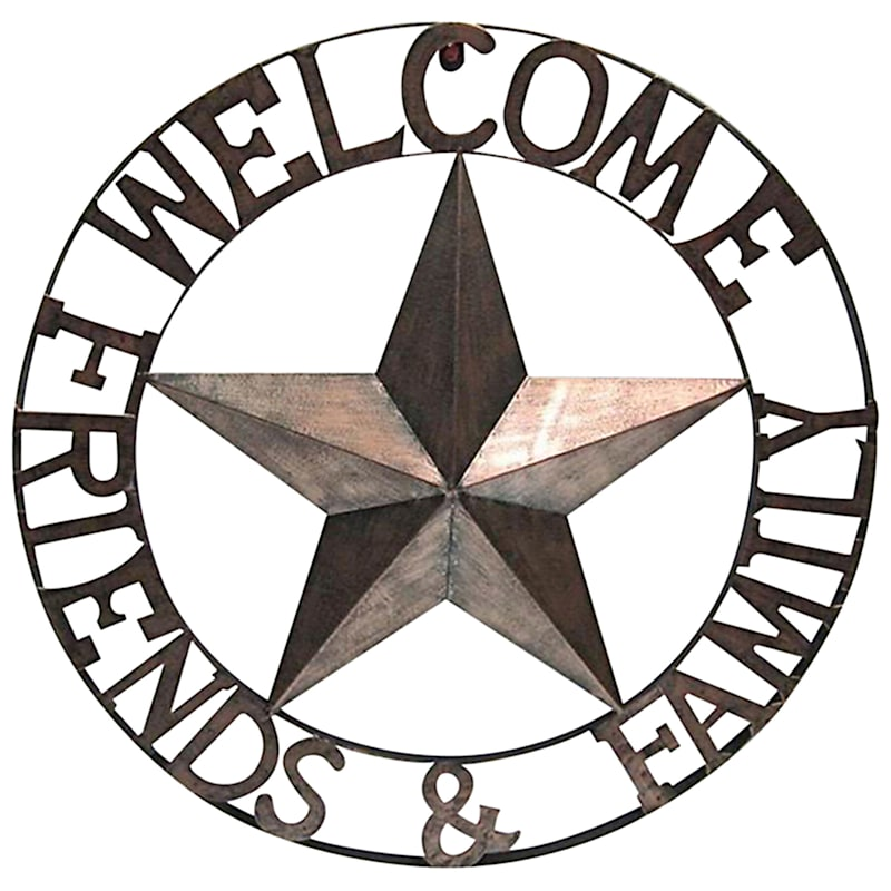 Metal Star Wall Plaque/Welcome Friends Family