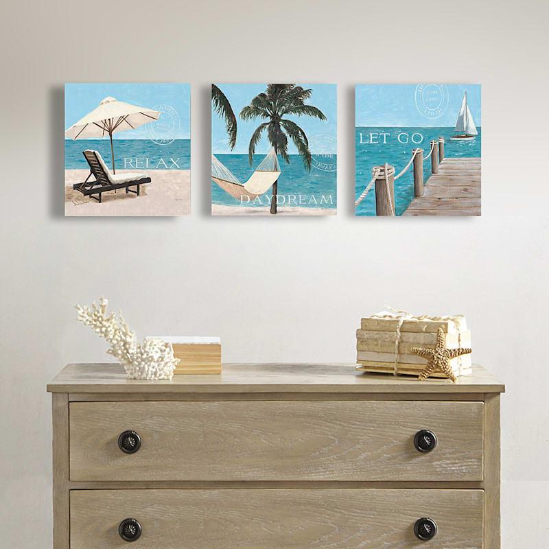 3-Piece 12X12 Coastal Escape Canvas Art Set