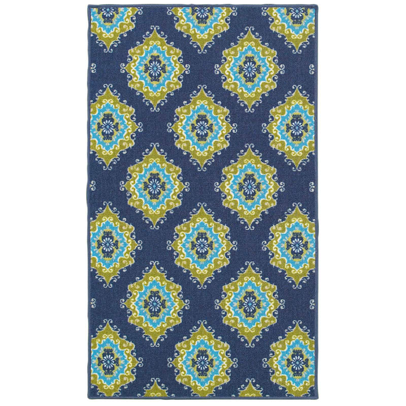 (E111) Indoor Area Rug Gold Floating Medallions & Blue Back Drop, 3x5