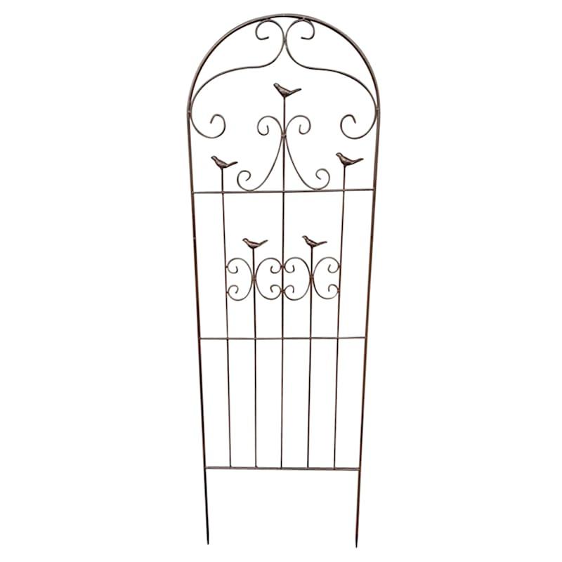 50in. Brown Metal 5 Bird Decorative Trellis