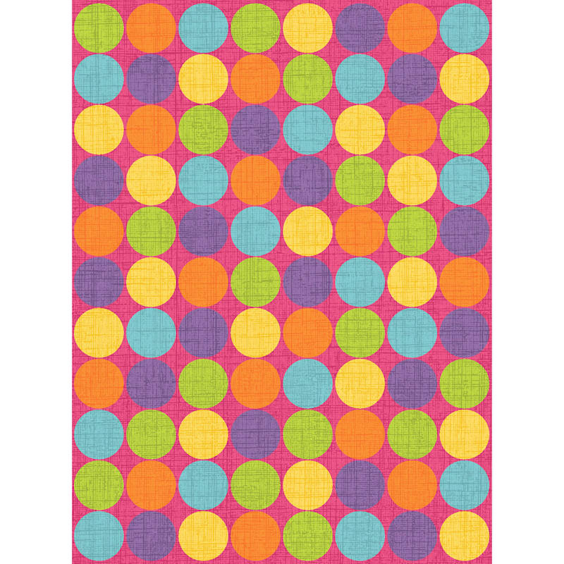 (D103) Gloucester Gumdrop Pink Printed Area Rug With Non-Slip Back, 7x10