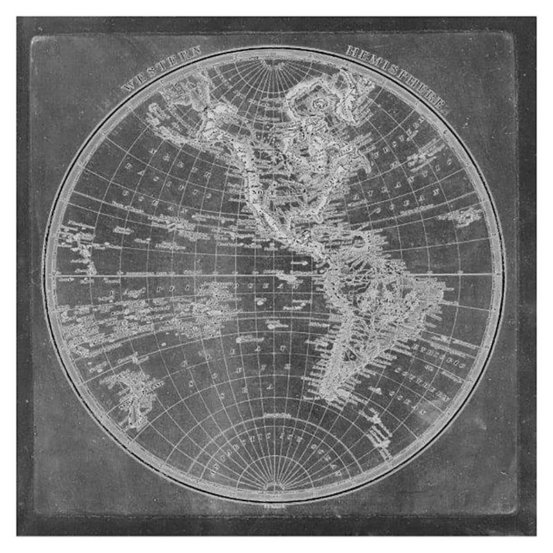 24X24 Eastern Hemisphere Map Canvas Art