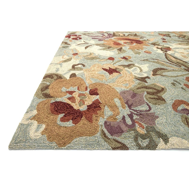 (A31) Summerton Floral Mist Hooked Area Rug, 2x4