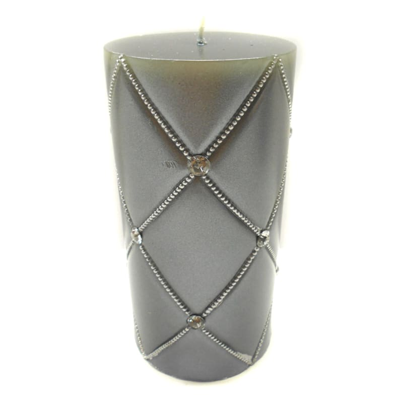 3X6 Jewel Pillar Candle Pearlized Grey