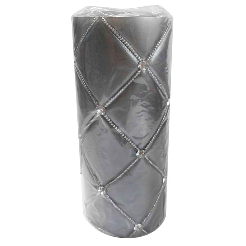 3X8 Jewel Pillar Candle Pearlized Grey