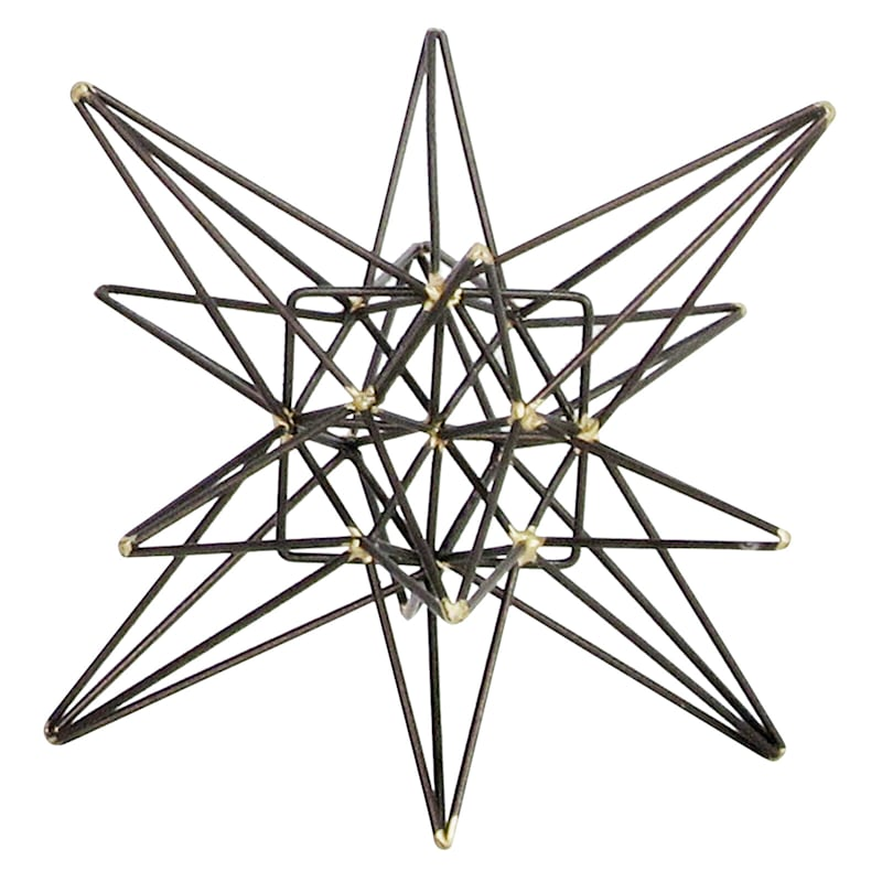 Black Metal With Gold Tip Starburst Decor Object - 6in.