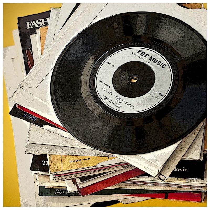 2-Piece 16X20 Vintage Record And Cassette Canvas