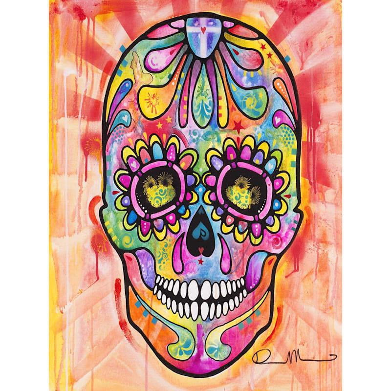 18X24 Vibrant Sugar Skull Canvas Wall Art