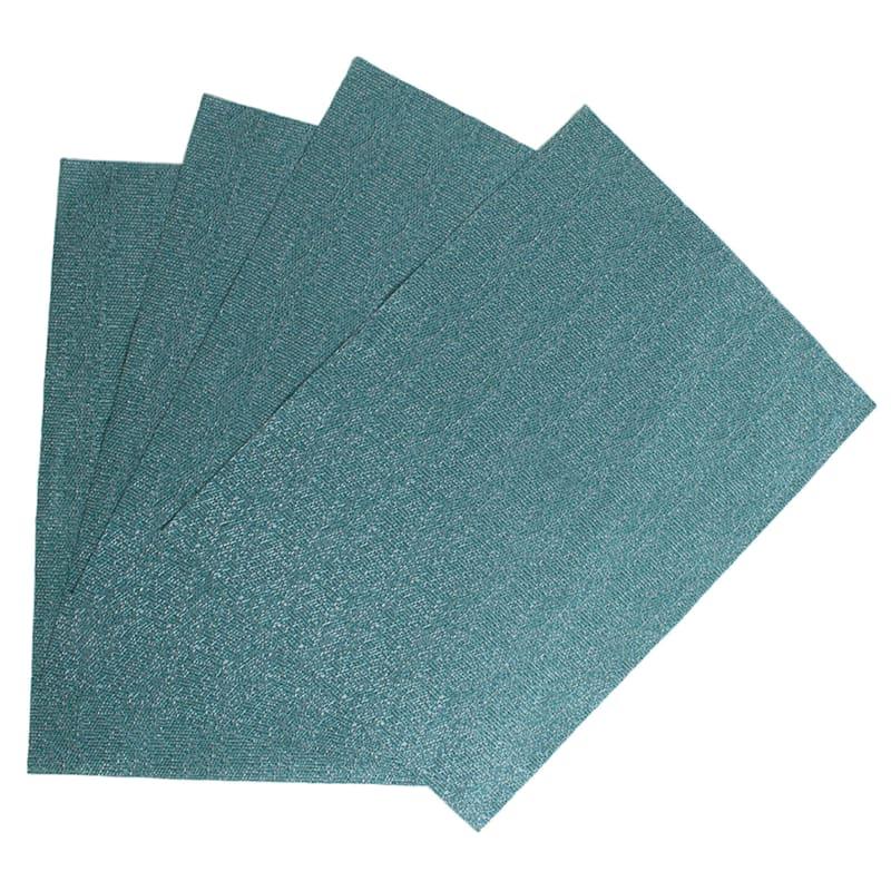 Set Of 4 Glamour Woven Vinyl Placemat Aqua
