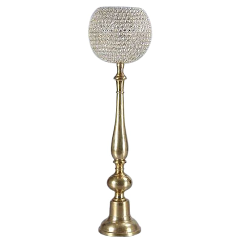 Crystal Globe Candle Holder Gold - 37 in