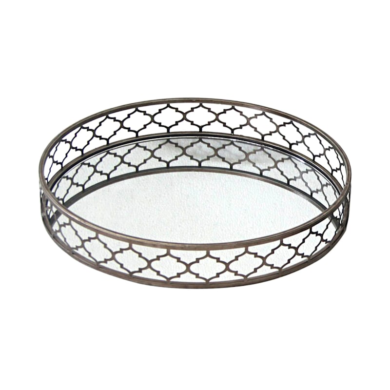 Round Mirror Gold Decorative Tray