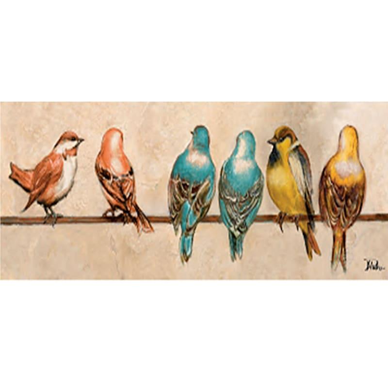 36X12 Birds On A Wire Multicolor Canvas Art