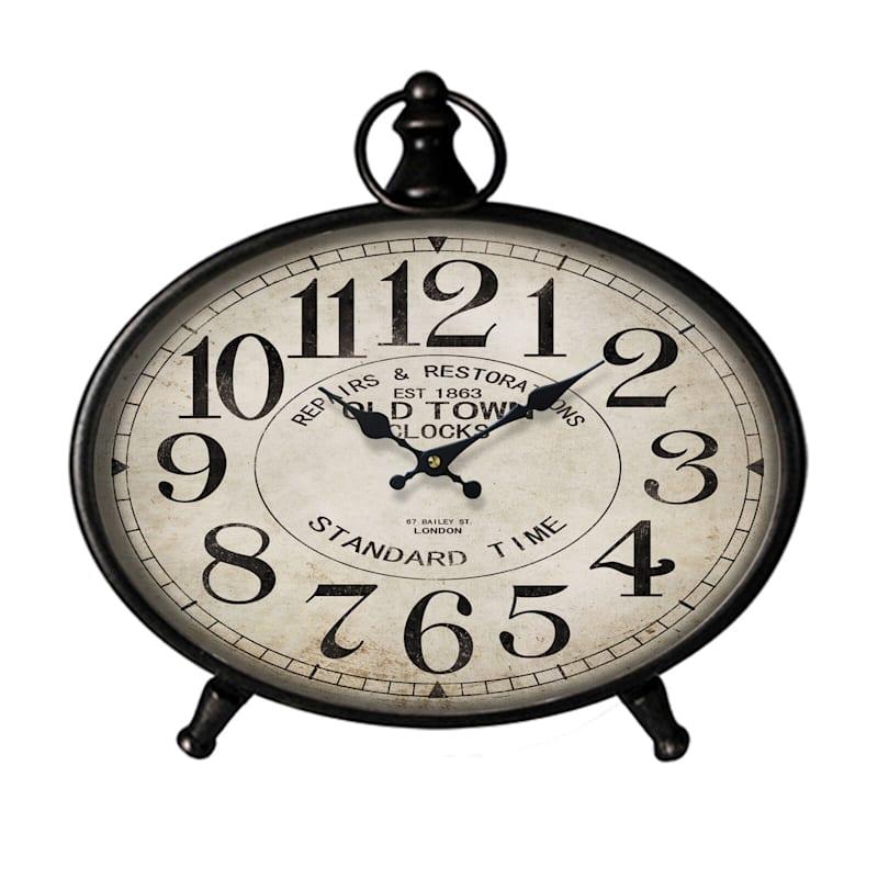 13X11 Metal Wood Oval Black Tabletop Clock