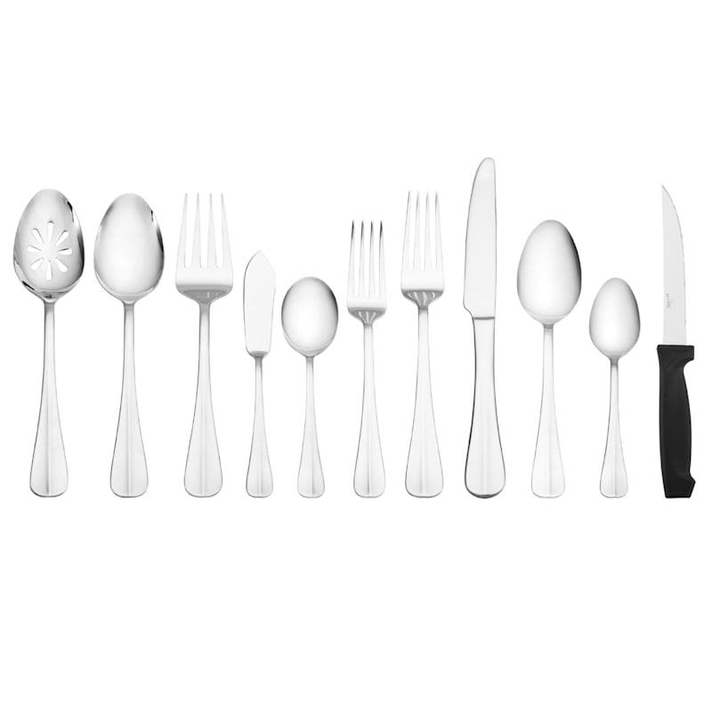 53-Piece Simplicity Silver Color Flatware