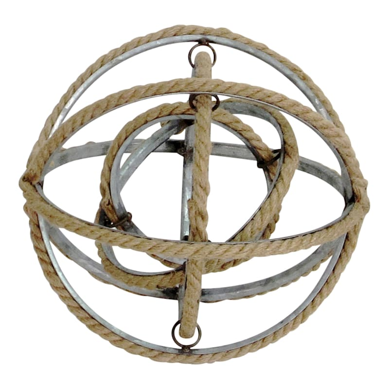 Galvanized Sphere With Natural Rope Lining Decor Object - 8in.