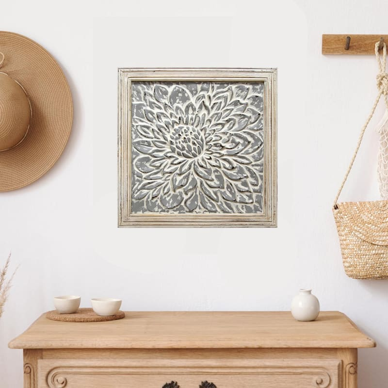 18X18 Embossed Metal Flower Framed Wall Decor