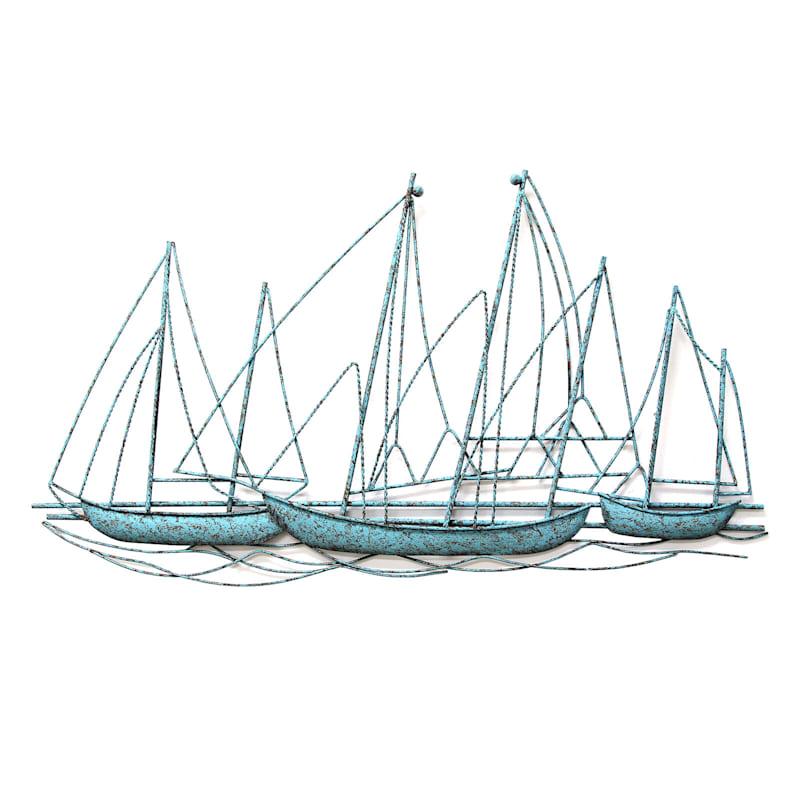 40X23 Metal Sail Boat Wall Decor