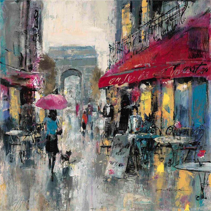 30X40 Paris Chandelier On Black Canvas Art
