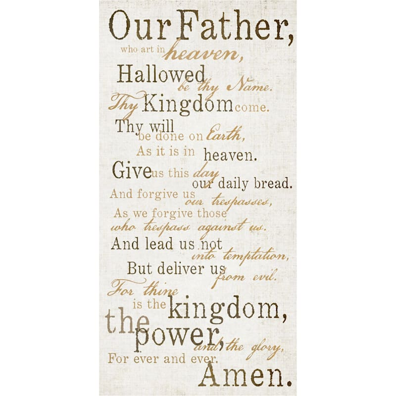 12X24 Brown Our Father Lords Prayer Canvas