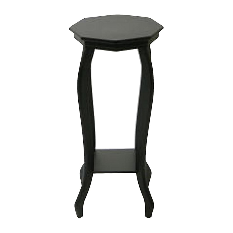 Wood Octagon Top Plant Stand Black