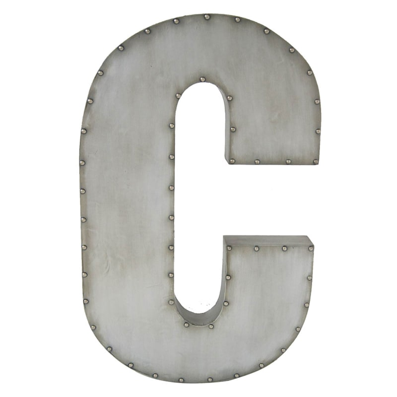 31in. Galvanized Cs Nailhead Letter