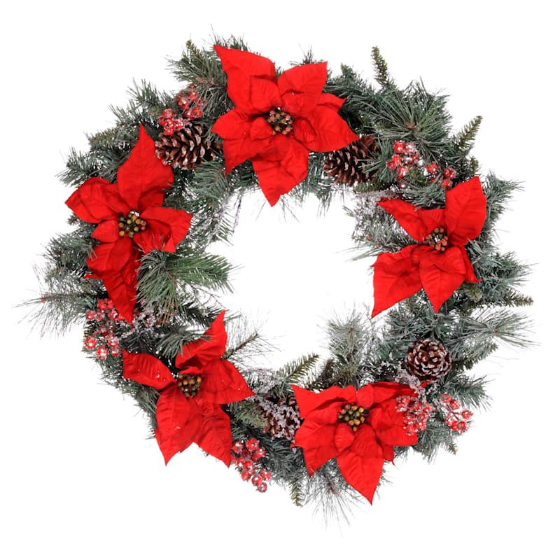 "Poinsettia, Pinecones & Iced Berries Twig Wreath, 30"""