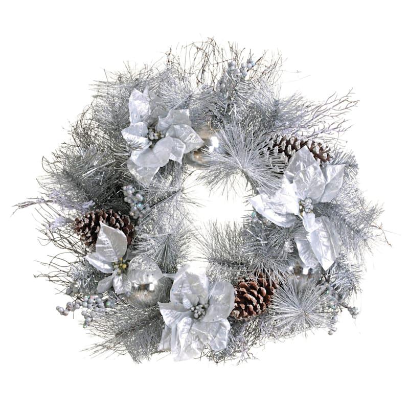 """Silver Glitter Poinsettias, Pinecones & Ornaments Wreath, 24"""""""
