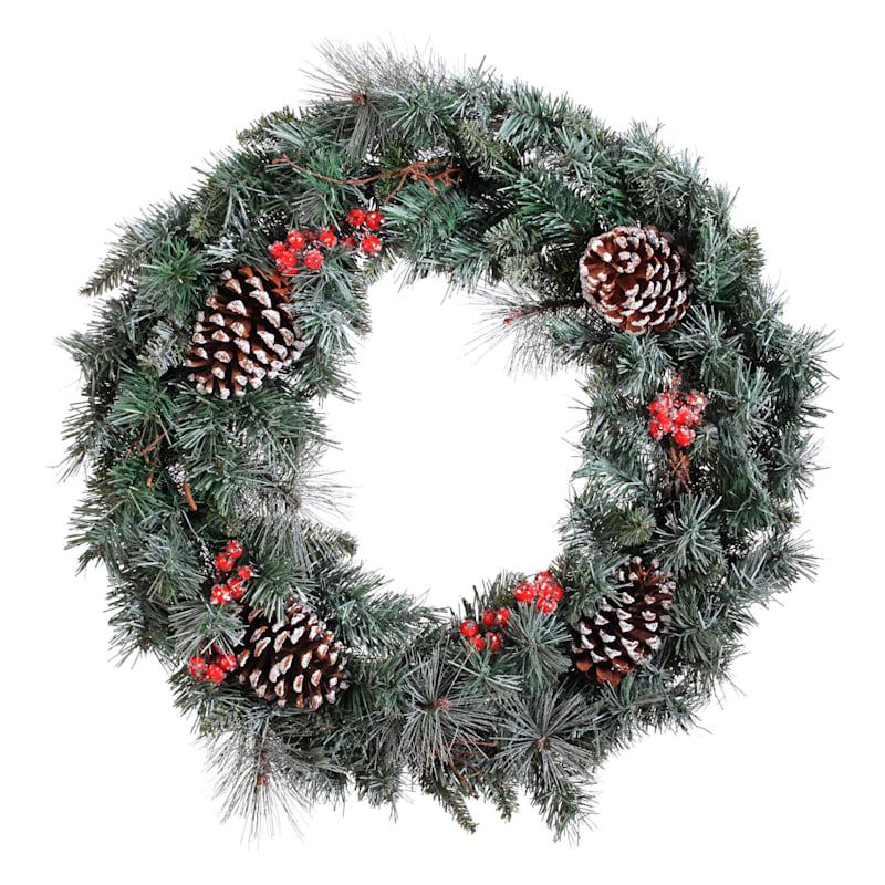 "Iced Berries & Pinecones Wreath, 30"""