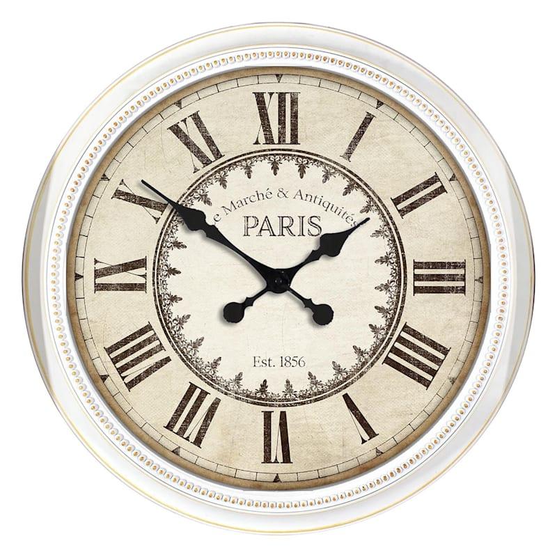 22-in White Beaded Paris Clock