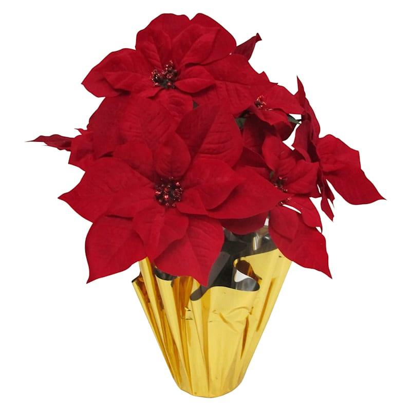 """Poinsettias in Gold Foil Pot, 10"""""""