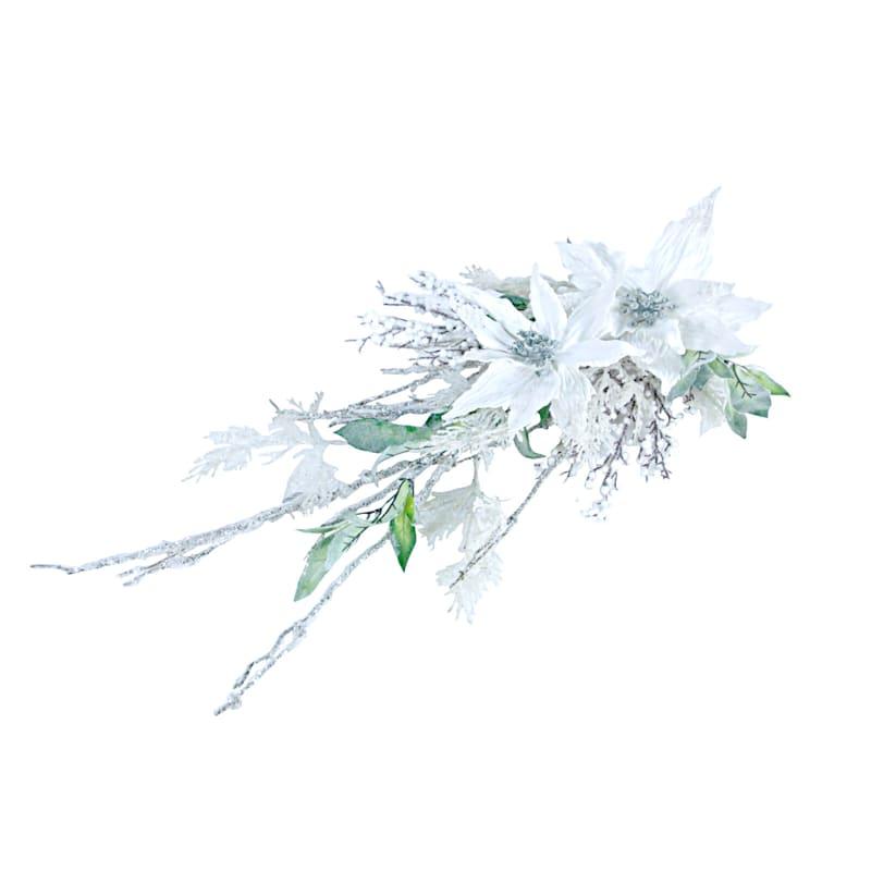 """Ice Cedar, Leaves & Poinsettia Swag, 28"""""""