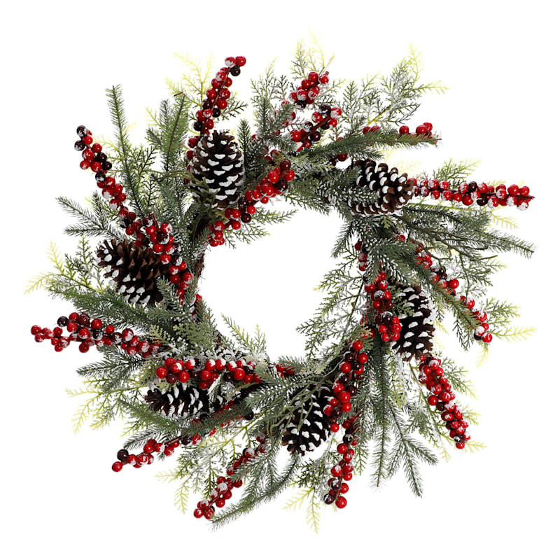 Pinecones & Berries Wreath, 24""