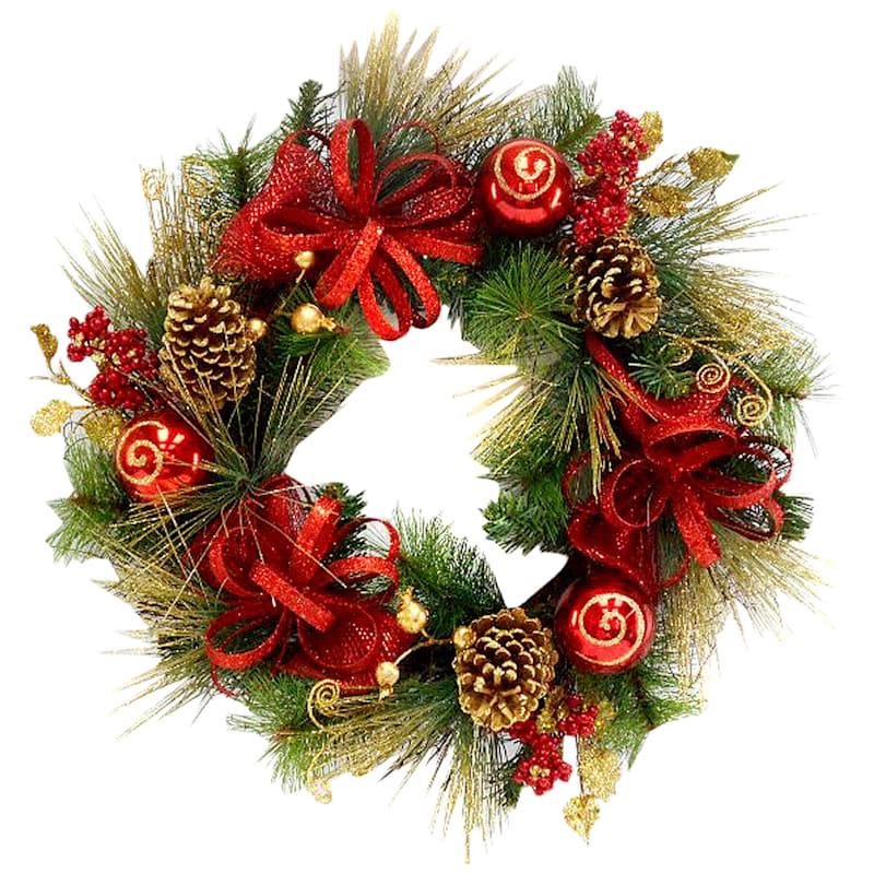 "Christmas Ornament Spiral Wreath, 24"""