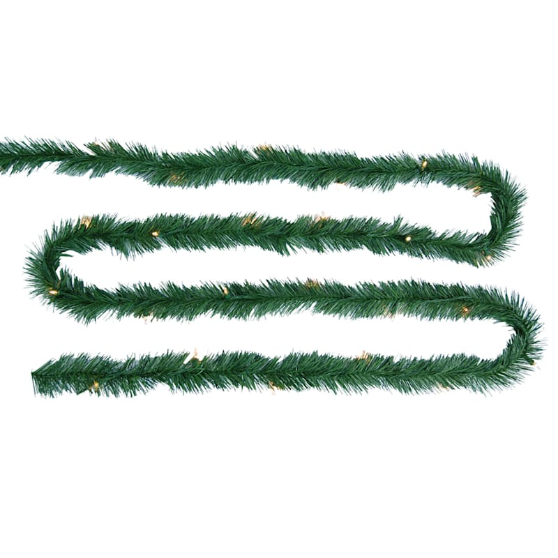 Tinsel Garland with 50 Clear Lights, 25'