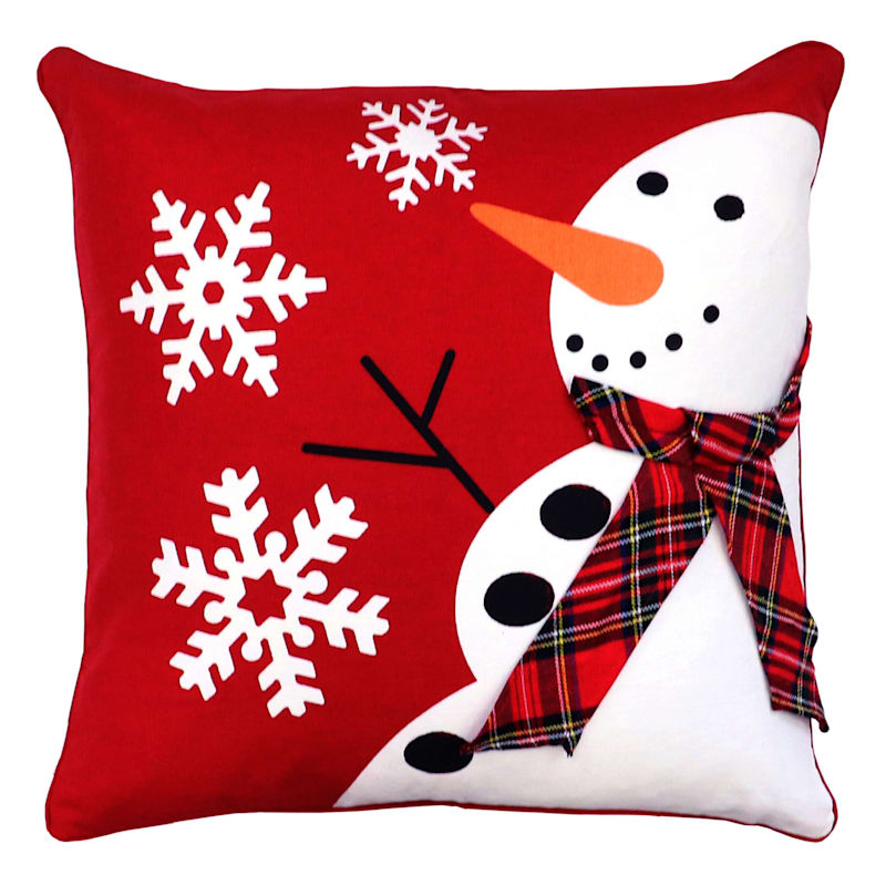 Red Snowman & Flannel Scarf Throw Pillow, 18""