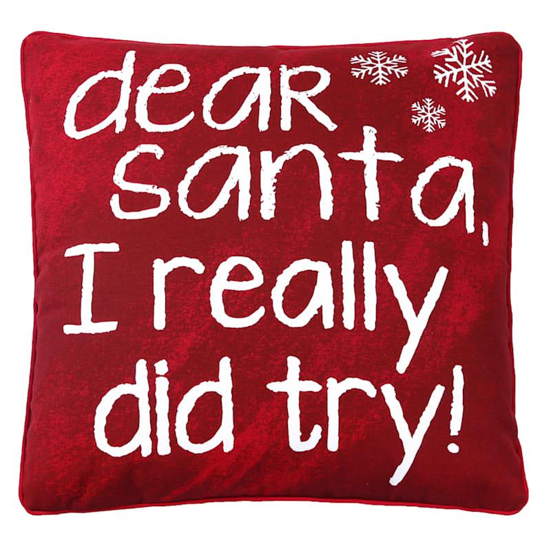 """Dear Santa Throw Pillow, 18"""""""