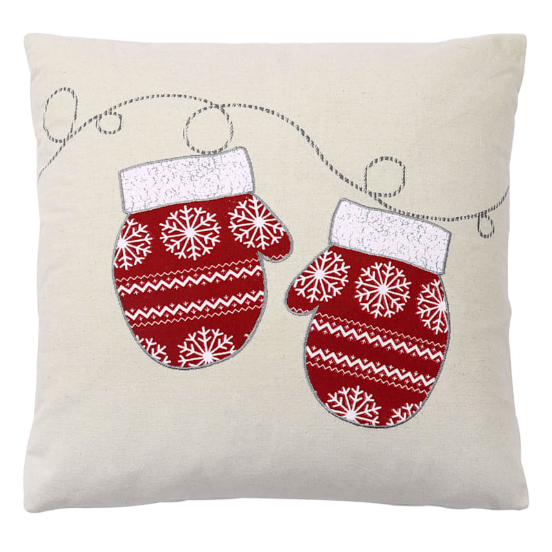 "Christmas Mittens Throw Pillow, 18"""