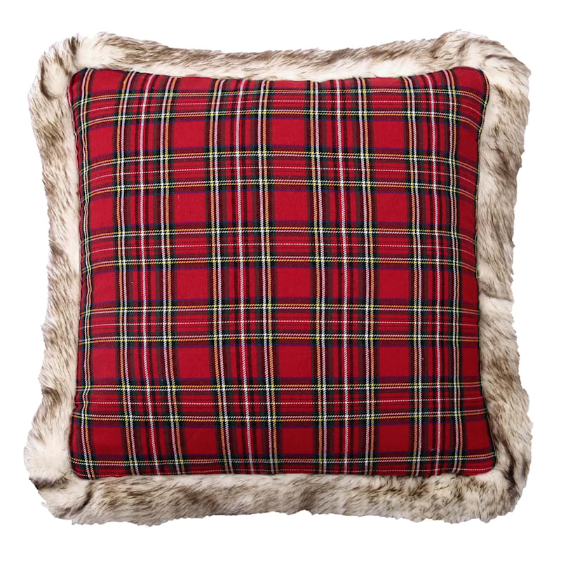 """Red Plaid Throw Pillow with Faux Fur Trim, 18"""""""