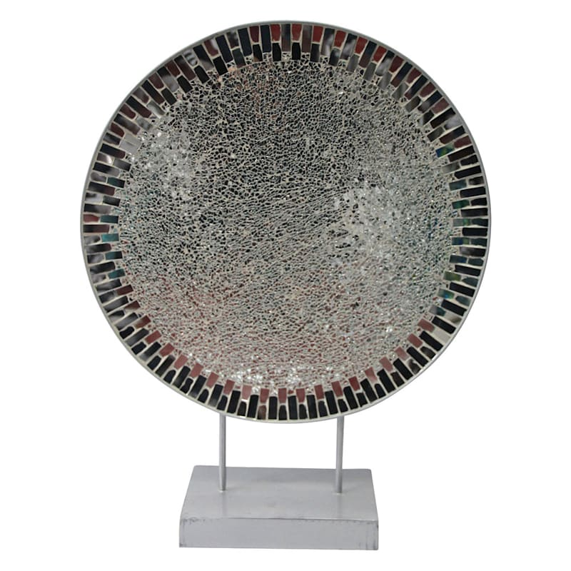 18X24 Metal Charger D�cor Base And Crackle Mosaic Mirror