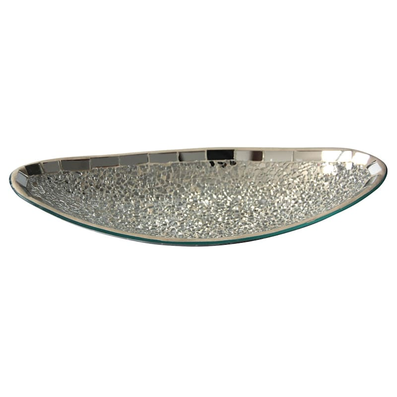 14X6 Crackle Mirror Mosaic Glass Tray