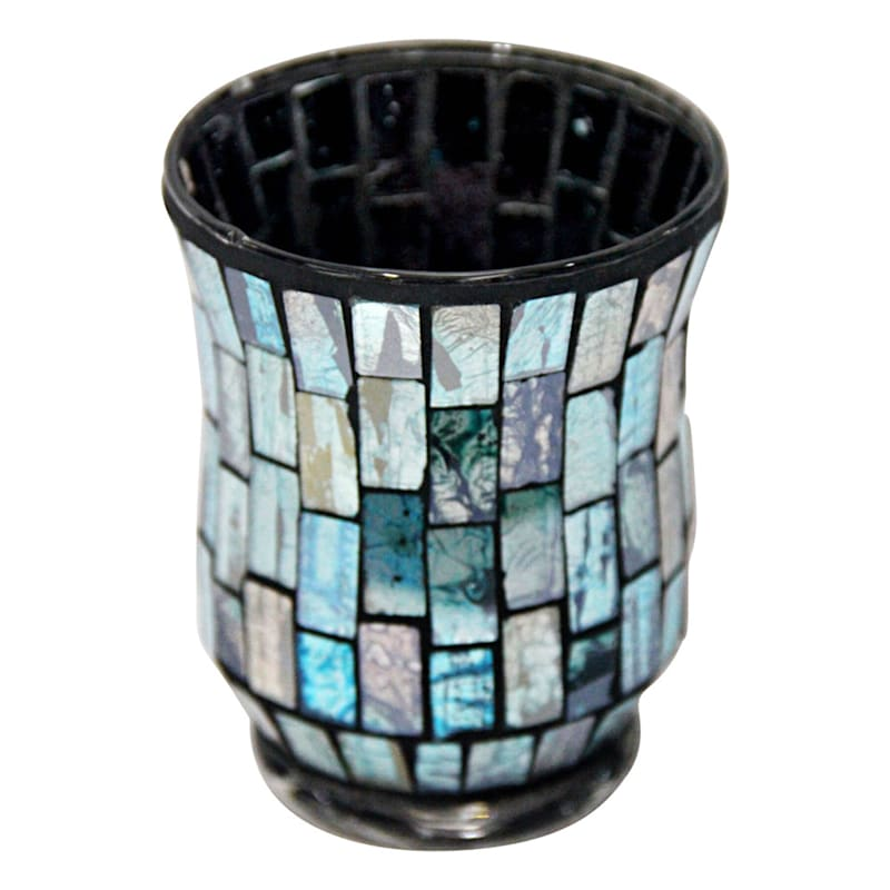 3X4 Turquoise Blue Tiled Mosaic Votive Holder
