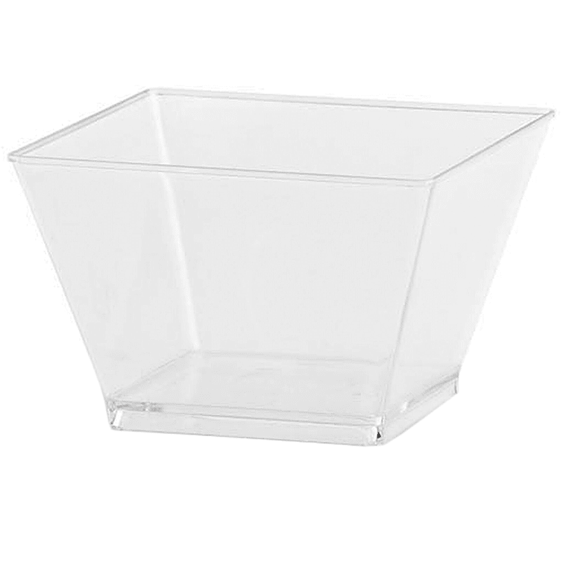 Clear 8oz Rectangle Plastic Condiment Bowl Lillian Table Settings