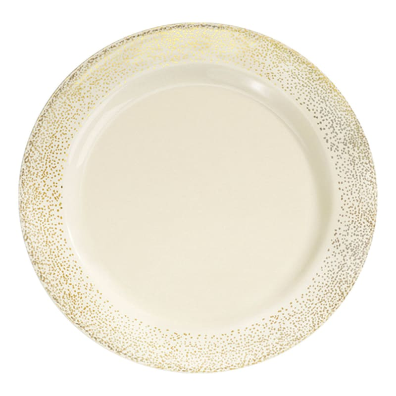 7.5in. Gold/Bone Plates Set Of 10
