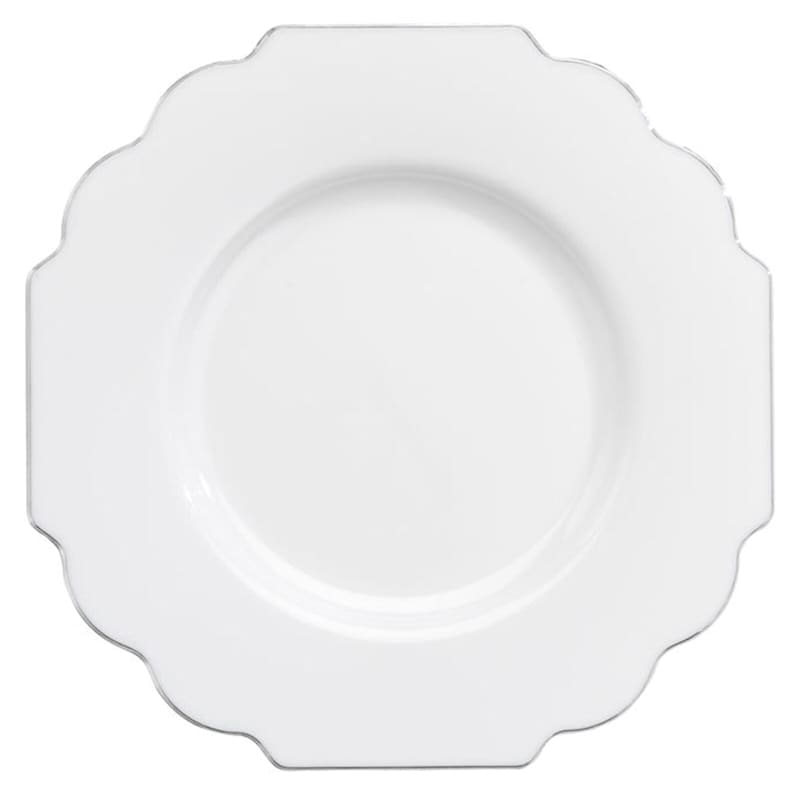 Set Of 10 White Baroque Plates