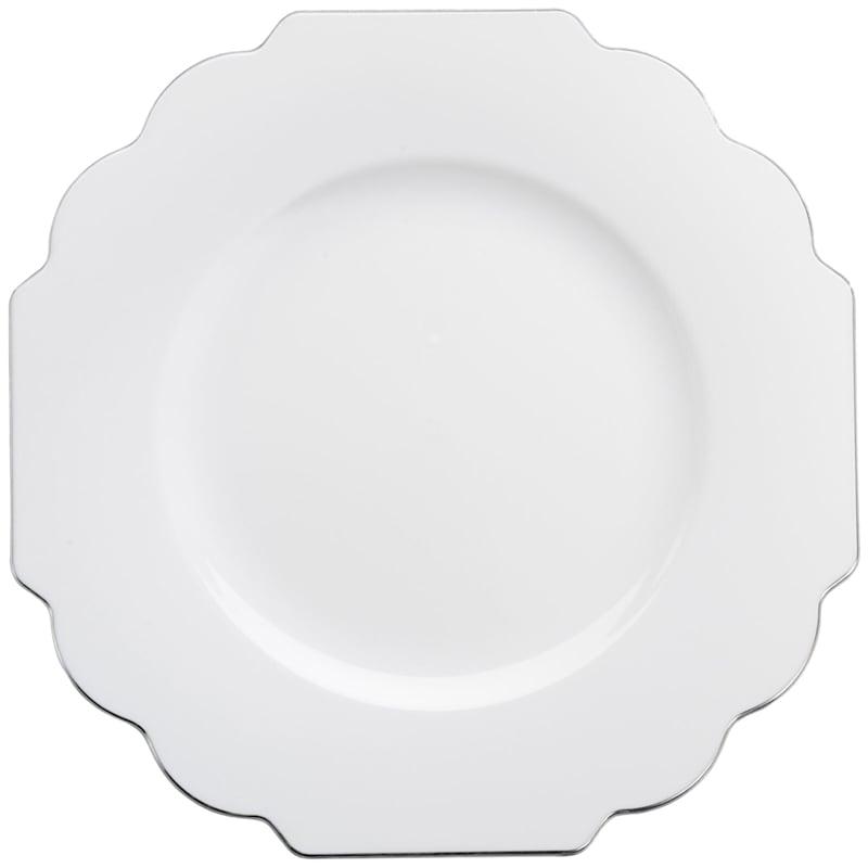 Set Of 10 Dessert Baroque White Plate