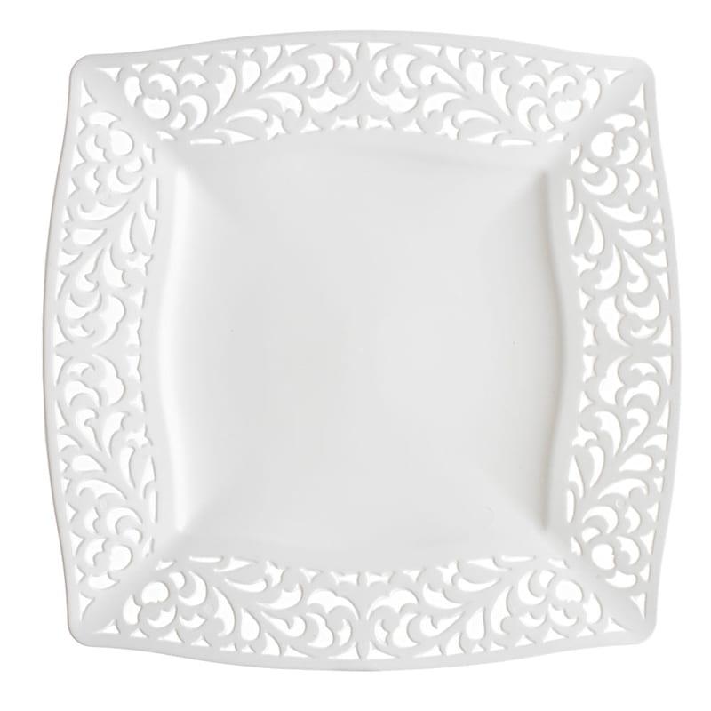 White Pierced Square Dinner Plates - set of 10