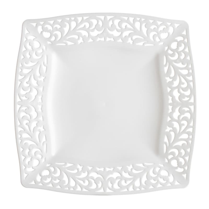 Set Of 10 Pierced White Square Plates