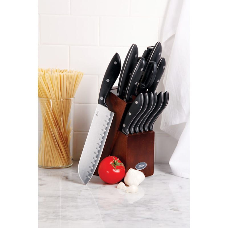 Oster Huxford 14-Piece Stainless Steel Cutlery Set Mahogany Bakelite